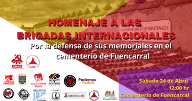 """<h4 style=""""text-align: center;""""><span style=""""color: #ff0000;""""><strong>Homenaje a las Brigadas Internacionales</strong></span><br />Sábado 24 de abril 2021<br />12:00 hr. Cementerio de Fuencarral (Madrid)</h4>"""